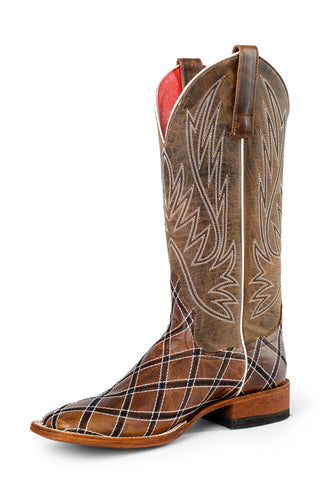 Macie Bean Womens Bone Leather Moka Sabotage Cowboy Boots