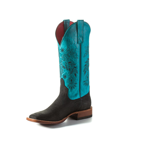 Macie Bean by Anderson Bean Womens Turquoise Leather Cowboy Boots Hippo