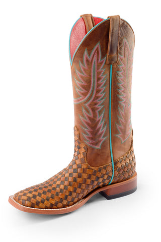Macie Bean Womens Honey Crazy Horse Leather Unbeweavable Cowboy Boots