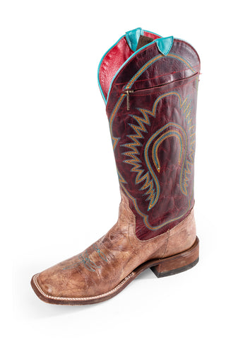 Macie Bean Womens Red Apple Leather Bunches of Totes Cowboy Boots