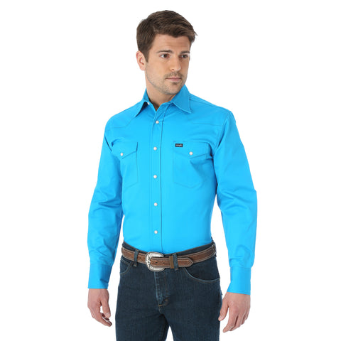 Wrangler Blue Cotton Blend Mens Advance Comfort Work L/S Shirt