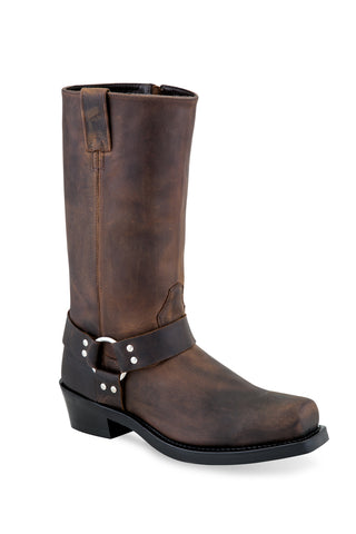 Old West Brown Mens Leather Harness Tall Motorcycle Boots