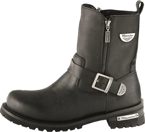 Milwaukee Afterburner Womens Motorcycle Boots Black Leather