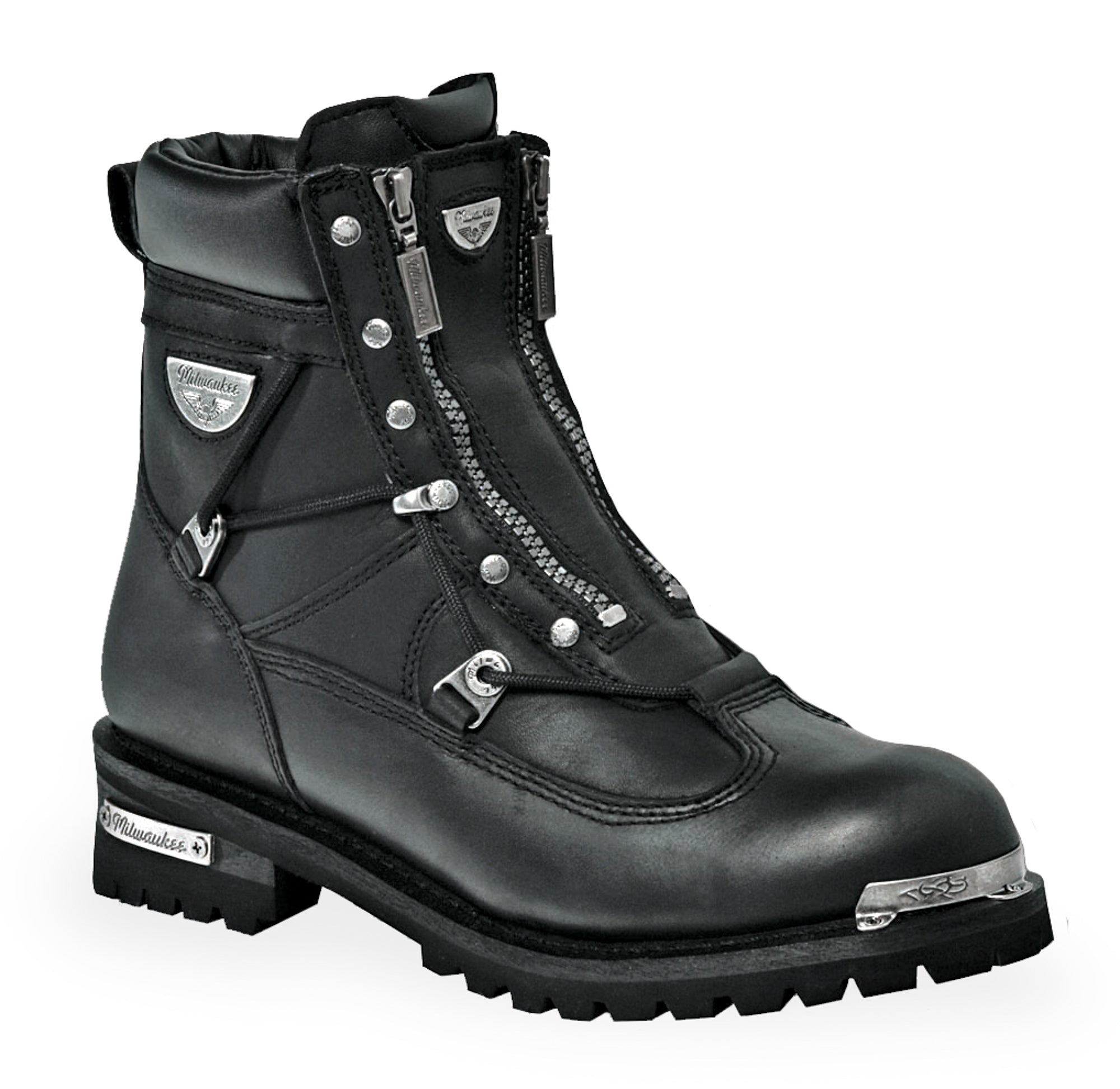 Milwaukee Throttle Womens Motorcycle Boots Black Leather  The Western -1592