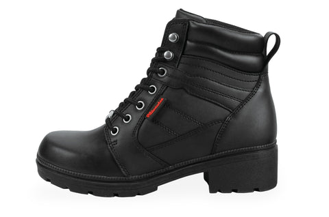 Milwaukee Rally Womens Motorcycle Boots Black Leather