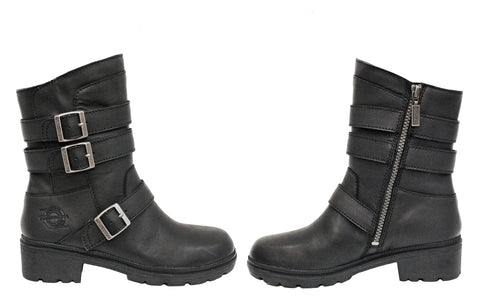 Milwaukee Cameo Womens Motorcycle Boots Black Leather