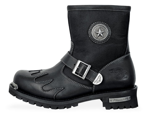 Milwaukee Burnout Mens Motorcycle Boots Black Leather