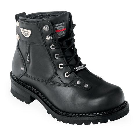 Milwaukee Outlaw Mens Motorcycle Boots Black Leather