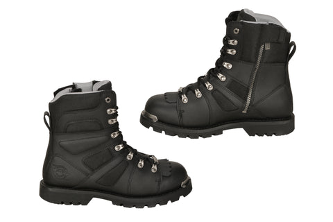 Milwaukee Ranger Mens Motorcycle Boots Black Leather