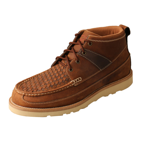 Twisted X 4in Wedge Sole Saddle Mens Leather Ankle Boots Woven/Oiled