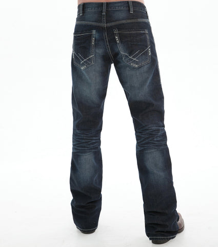 B Tuff Mens Dark Wash 100% Cotton Jeans X Stitching Country Road
