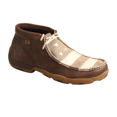 Twisted X Mens Brown/Ivory Leather Flag Driving Moccasins