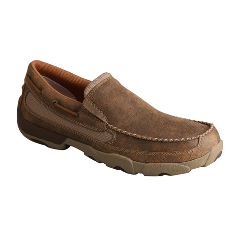 Twisted X Mens Bomber Leather Slip On D Toe Casuals for Cowboys Shoes