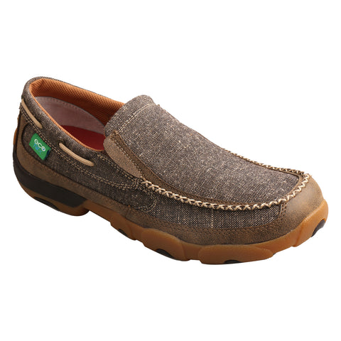 Twisted X Mens Dust Canvas/Leather ECO Driving Moccasins