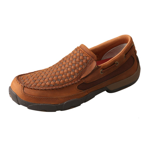 Twisted X Slip-On Shoes Oiled Saddle/Brown Mens Leather Driving Mocs
