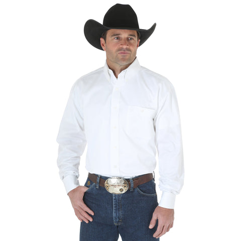 Wrangler Mens White 100% Cotton George Strait L/S Shirt