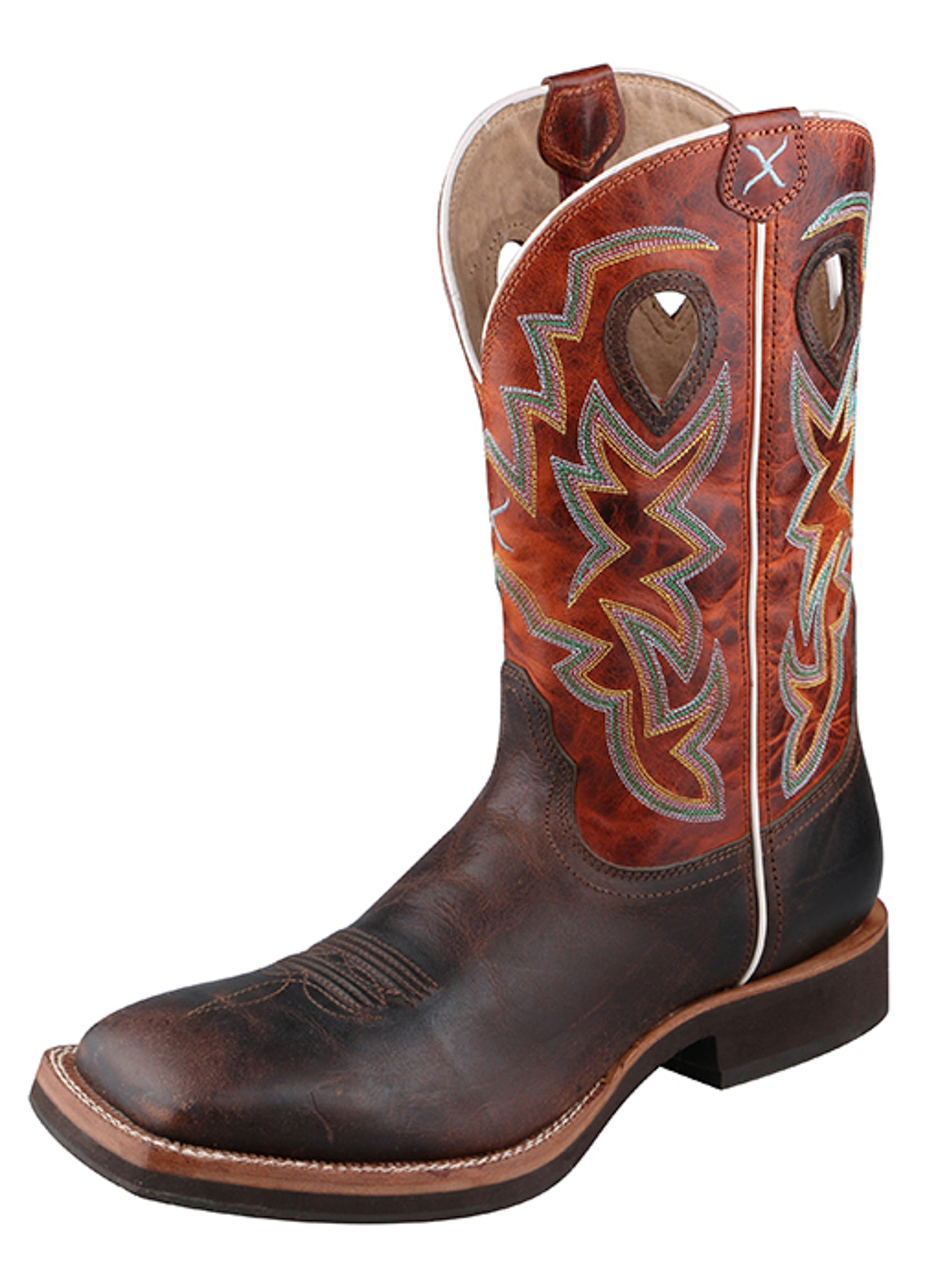 f2494111dad Twisted X Mens Chocolate Leather Square Toe Orange Horseman Cowboy Boots