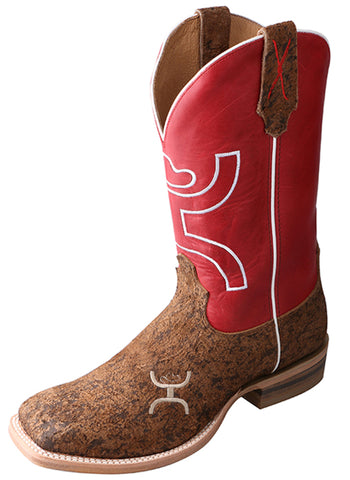 Twisted X Mens Red Leather Distressed Waxed Hooey Cowboy Boots