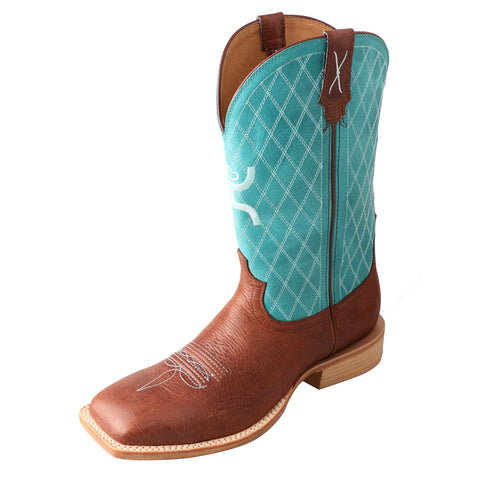 Twisted X Mens Turquoise Leather 12in Cognac Hooey Cowboy Boots