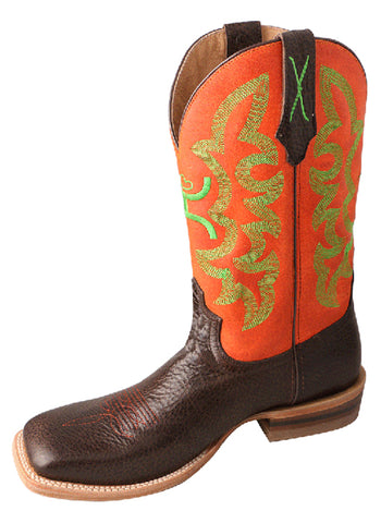 Twisted X Mens Neon Orange Leather 12in Chocolate Hooey Cowboy Boots
