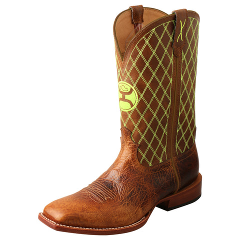 Twisted X Hooey Peanut/Neon Green Mens Leather Cowboy Boots
