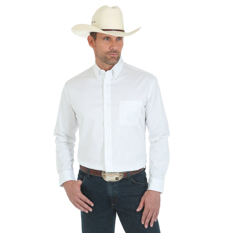 Wrangler White Cotton Blend Mens 20X Competition Ac L/S Shirt