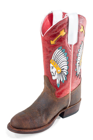 Macie Bean Boys Rodeo Red Leather Chieftain Cowboy Boots