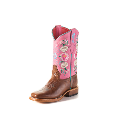 Macie Bean by Anderson Bean Youth Rose Leather Cowboy Boots Lizard Print
