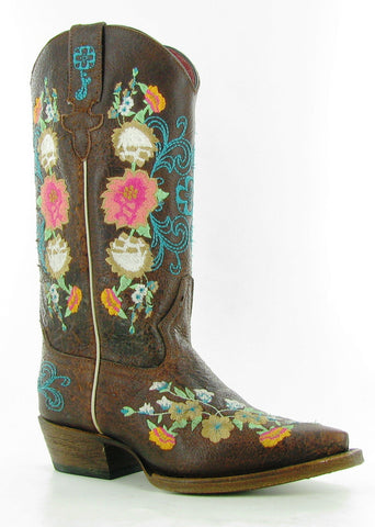 Macie Bean by Anderson Bean Kids Brown Leather Cowboy Boots Sweet 16