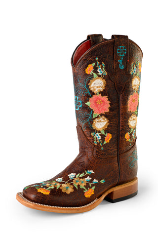 Macie Bean by Anderson Bean Kids Brown Leather Cowboy Boots Sweet 16 DB