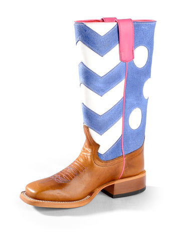 Macie Bean by Anderson Bean Girls Tan Leather Chevron Cowboy Boots
