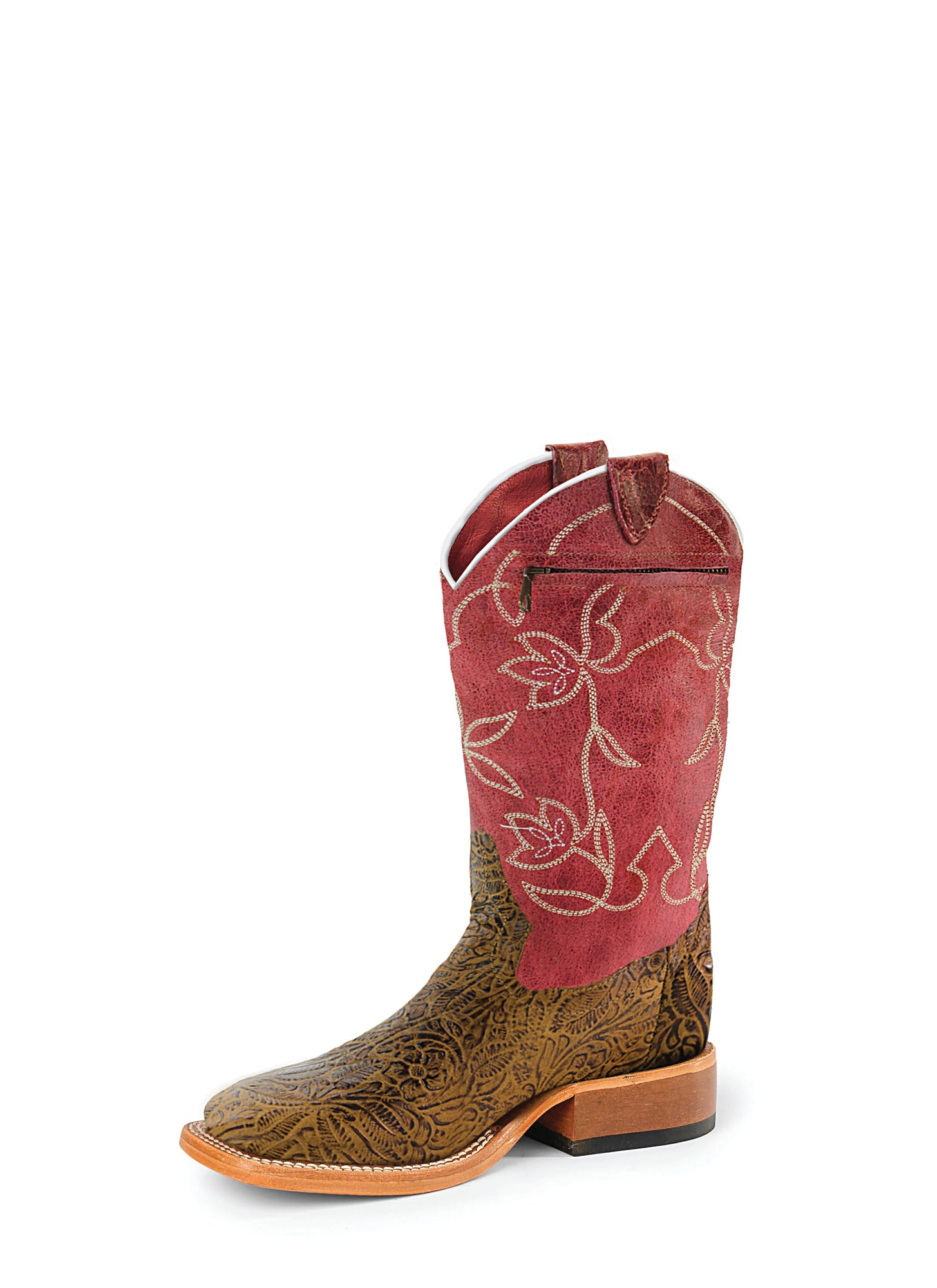 Kids 9 10 11 12 13 1 2 3 Smoky Mountain Girls Cowboy Cowgirl Boots Brown Red