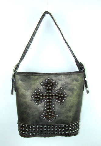 Savana Pewter Faux Leather Ladies Pewter Purse Studded Cross