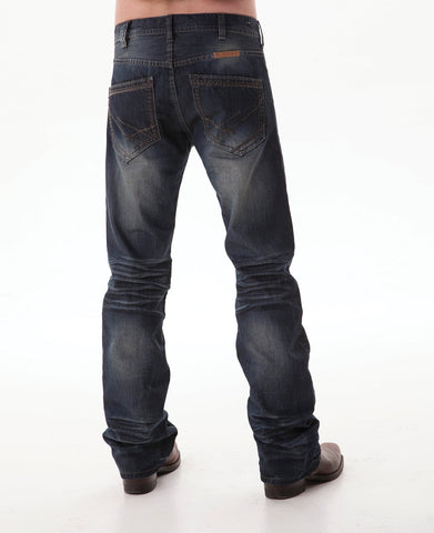 B Tuff Mens Blue Cotton Denim Jeans Bootcut Kirk Dark