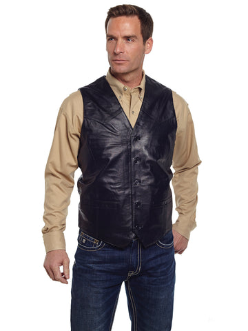 Cripple Creek Mens Black Genuine Leather Western Button Front Vest