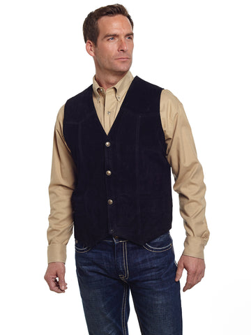 Cripple Creek Mens Black Boar Suede Leather Western Snap Front Vest