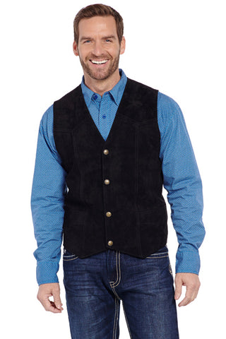 Cripple Creek Mens Black Boar Suede Snap Front Vest Western