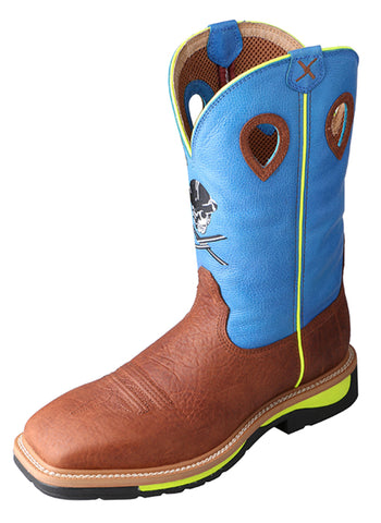 Twisted X Mens Neon Blue Leather Skull Lite Weight Cowboy Work Boots
