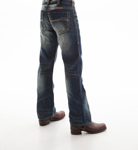 B Tuff Mens Blue Cotton Denim Jeans Bootcut Outlaw