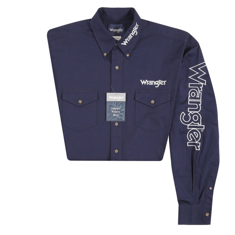 Wrangler Mens Navy 100% Cotton L/S Shirt