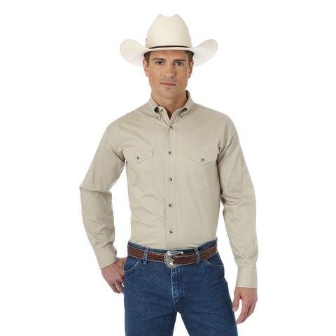 Wrangler Mens Tan 100% Cotton Painted Desert L/S Shirt