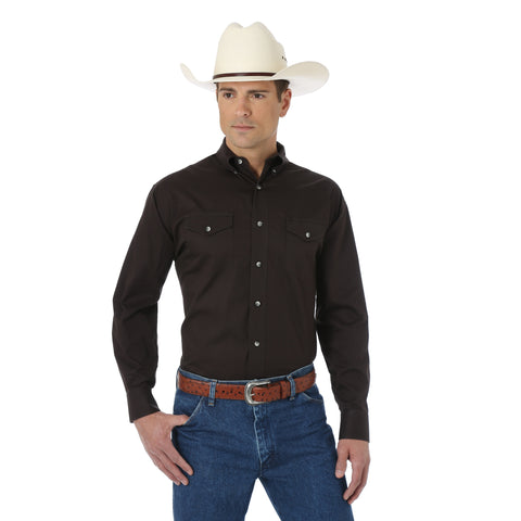 Wrangler Mens Black 100% Cotton Painted Desert L/S Shirt
