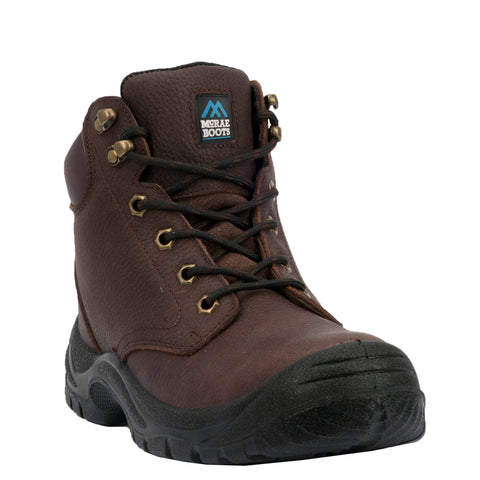 McRae Mens Brown Work Boots Leather Round Toe