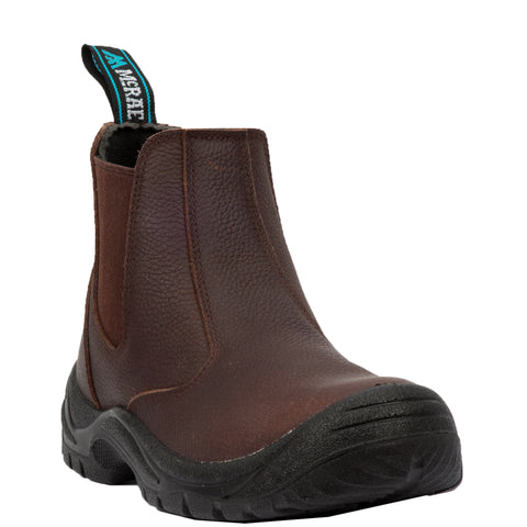 McRae Mens Brown Work Boots Leather Steel Toe