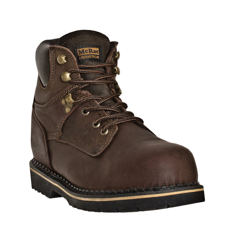 McRae Industrial Mens Brown Leather Steel Toe Pull-On Work Boots
