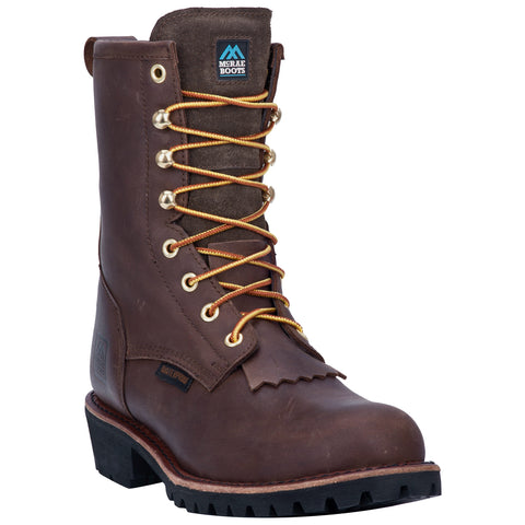 McRae Mens Tree Line St Wp Logger Boots Leather Dark Brown