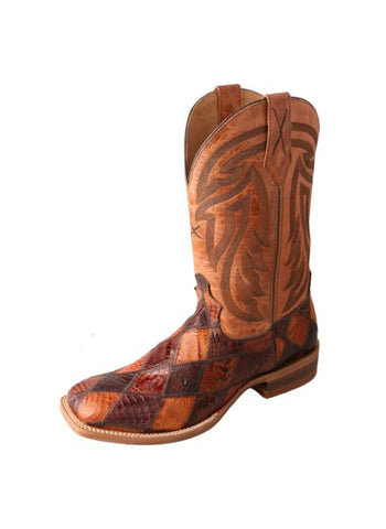 Twisted X Mens Chocolate Caiman Skin 12in PullOn Rancher Cowboy Boots