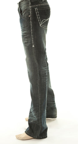 B Tuff Mens Blue Cotton Denim Jeans X-Stitch Bootcut Renegade