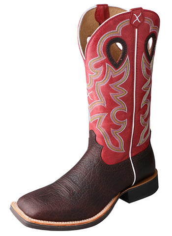 Twisted X Mens Red Leather 14in Oiled Cognac Ruff Stock Cowboy Boots