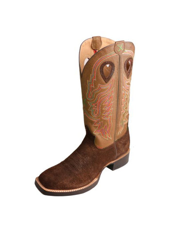 Twisted X Mens Tan Leather 14in PullOn Ruff Stock Cowboy Boots
